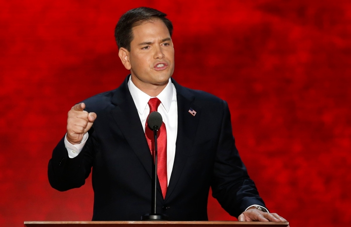 U.S. Senator Marco Rubio addresses delegates as he introduces Republican presidential nominee Mitt Romney during the final session of the Republican National Convention in Tampa