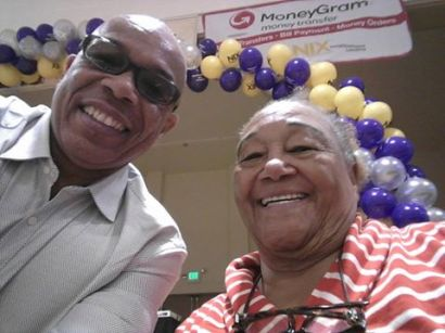 """County of LA Information Officer James Bolton and Community Leader """"Sweet"""" Alice Harris"""